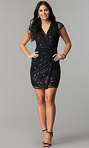 Image of short sequin mock-wrap wedding-guest party dress. Style: VE-628-213925 Detail Image 3