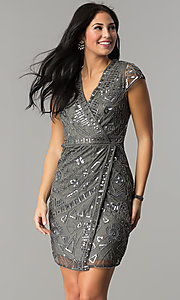 Image of short sequin mock-wrap wedding-guest party dress. Style: VE-628-213925 Front Image
