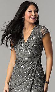 Image of short sequin mock-wrap wedding-guest party dress. Style: VE-628-213925 Detail Image 1