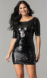 Image of short holiday party dress with reversible sequins. Style: VE-884-211994 Detail Image 1