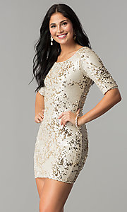 Image of short holiday party dress with reversible sequins. Style: VE-884-211994 Detail Image 3