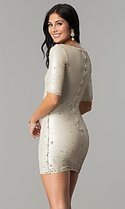 Image of short holiday party dress with reversible sequins. Style: VE-884-211994 Back Image