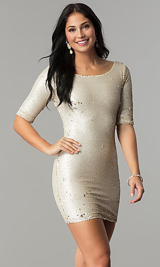 Short Holiday Party Dress with Reversible Sequins