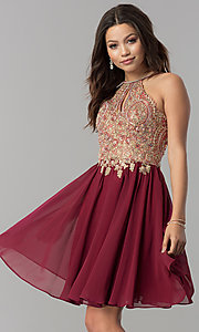 Image of short chiffon homecoming dress with beaded applique. Style: NA-6324 Detail Image 1