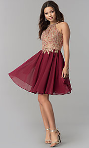 Image of short chiffon homecoming dress with beaded applique. Style: NA-6324 Detail Image 2