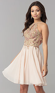 Image of short chiffon homecoming dress with beaded applique. Style: NA-6324 Detail Image 3