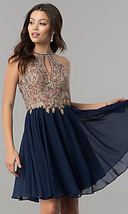 Image of short chiffon homecoming dress with beaded applique. Style: NA-6324 Front Image