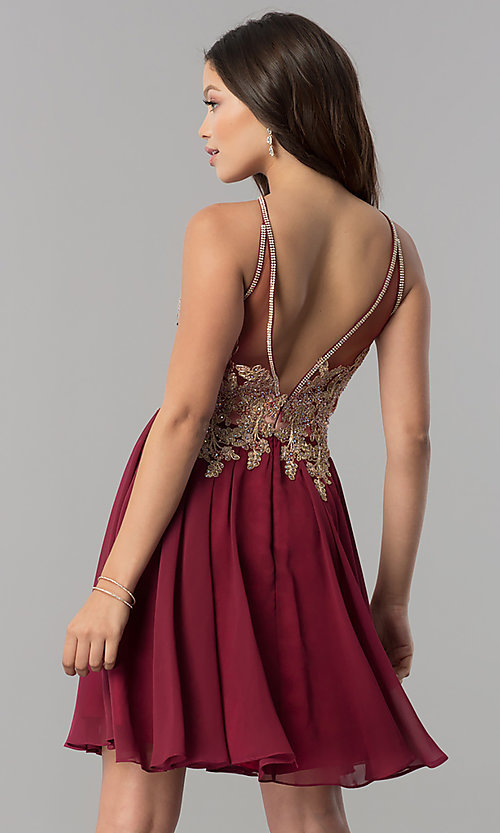 Image of short chiffon homecoming dress with beaded applique. Style: NA-6324 Back Image
