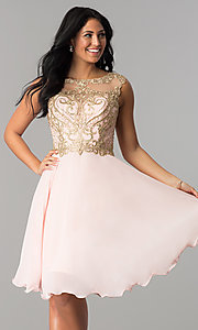 Image of knee-length chiffon homecoming dress with embroidery. Style: NA-6321 Detail Image 3