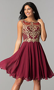 Image of knee-length chiffon homecoming dress with embroidery. Style: NA-6321 Detail Image 2