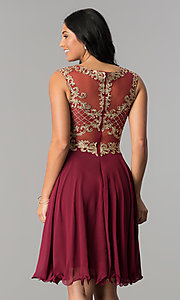 Image of knee-length chiffon homecoming dress with embroidery. Style: NA-6321 Back Image