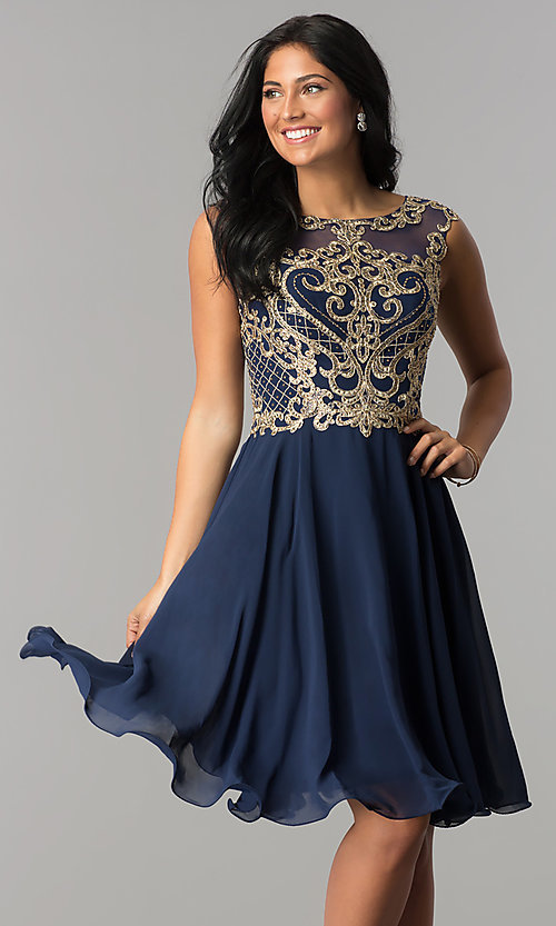 Image of knee-length chiffon homecoming dress with embroidery. Style: NA-6321 Detail Image 1