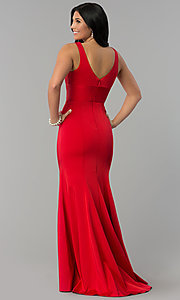Image of long prom dress with train and deep illusion v-neck. Style: NA-Q010 Back Image