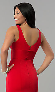 Image of long prom dress with train and deep illusion v-neck. Style: NA-Q010 Detail Image 2