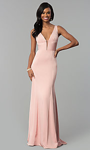 Image of long prom dress with train and deep illusion v-neck. Style: NA-Q010 Detail Image 6