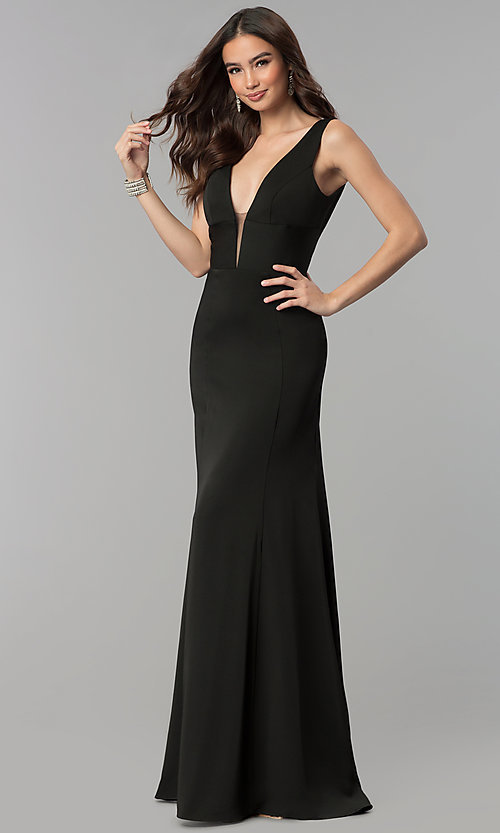 Image of long prom dress with train and deep illusion v-neck. Style: NA-Q010 Detail Image 3