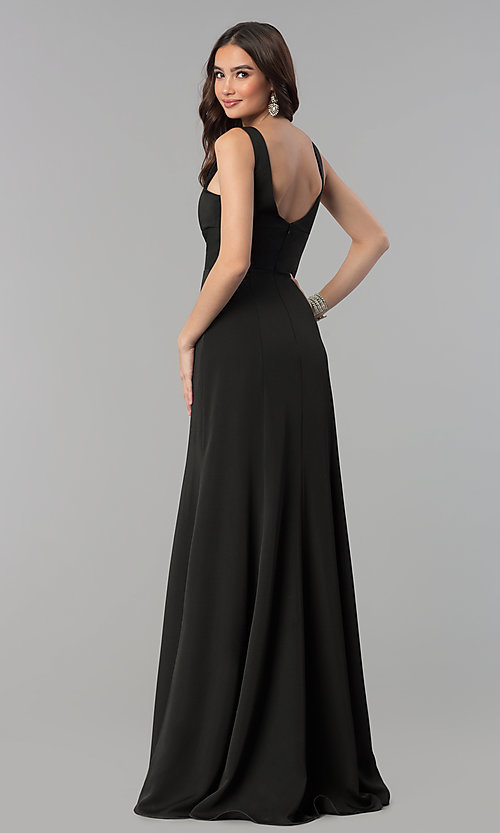 Image of long prom dress with train and deep illusion v-neck. Style: NA-Q010 Detail Image 4