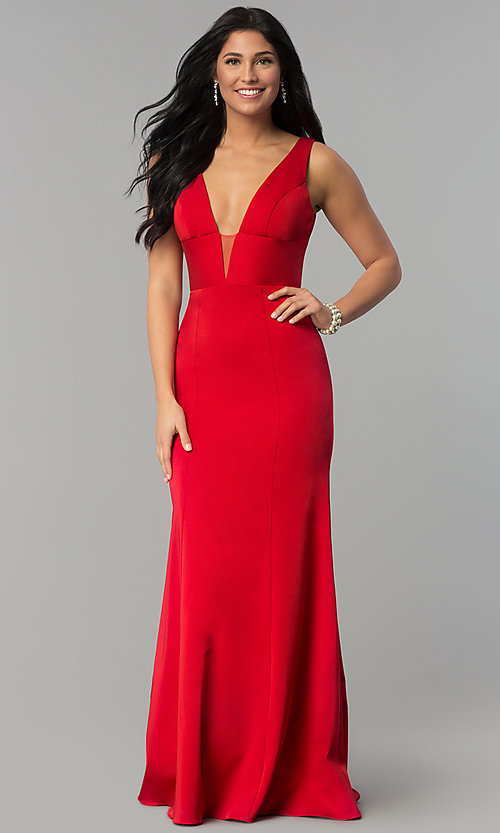 Image of long prom dress with train and deep illusion v-neck. Style: NA-Q010 Front Image