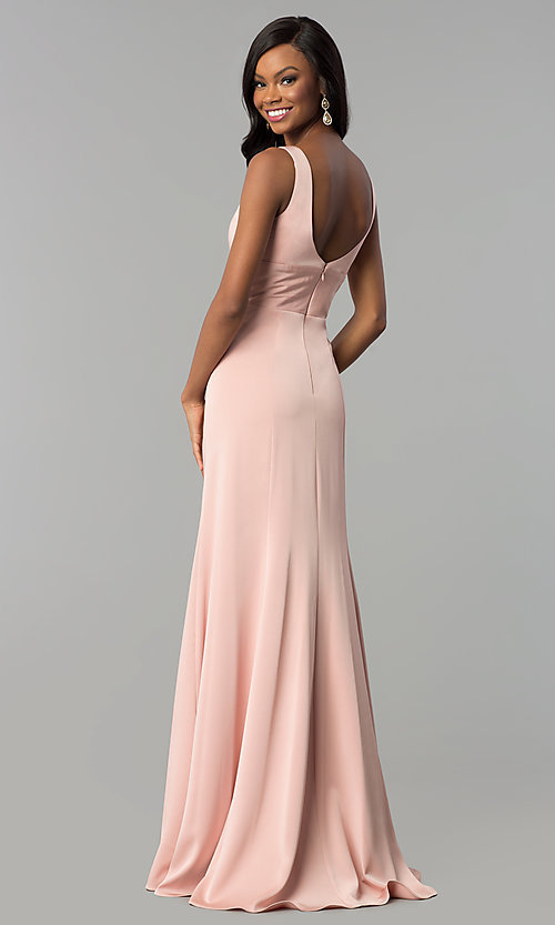 Image of long prom dress with train and deep illusion v-neck. Style: NA-Q010 Detail Image 7