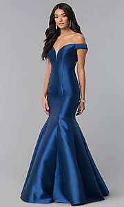 Image of mermaid long off-the-shoulder prom dress. Style: NA-C004 Detail Image 1
