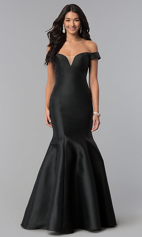 Image of mermaid long off-the-shoulder prom dress. Style: NA-C004 Detail Image 3
