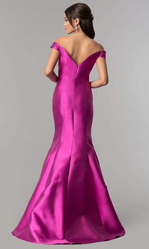 Image of mermaid long off-the-shoulder prom dress. Style: NA-C004 Back Image