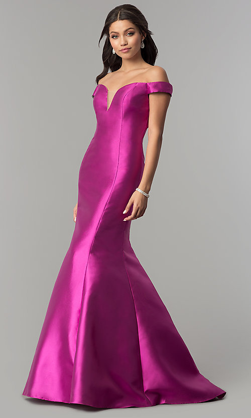 Image of mermaid long off-the-shoulder prom dress. Style: NA-C004 Front Image
