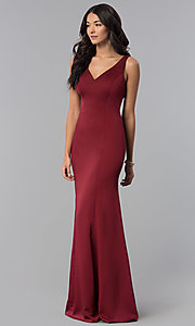Image of princess-cut sateen long formal prom dress. Style: NA-Q011 Detail Image 5
