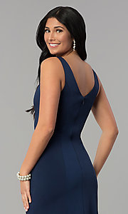 Image of princess-cut sateen long formal prom dress. Style: NA-Q011 Detail Image 2