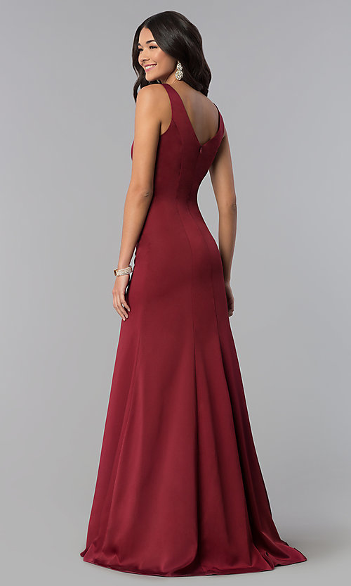 Image of princess-cut sateen long formal prom dress. Style: NA-Q011 Detail Image 6