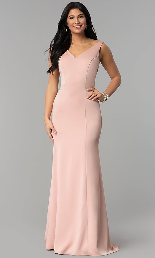 Image of princess-cut sateen long formal prom dress. Style: NA-Q011 Detail Image 3