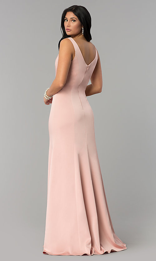 Image of princess-cut sateen long formal prom dress. Style: NA-Q011 Detail Image 4