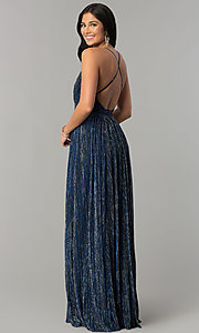 Image of metallic-crepe deep-v-neck long formal dress. Style: LUX-LD4206 Detail Image 2