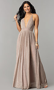 Image of metallic-crepe deep-v-neck long formal dress. Style: LUX-LD4206 Front Image