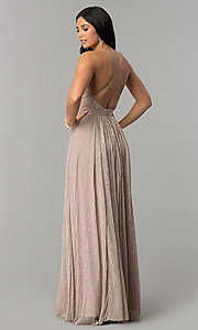 Image of metallic-crepe deep-v-neck long formal dress. Style: LUX-LD4206 Back Image
