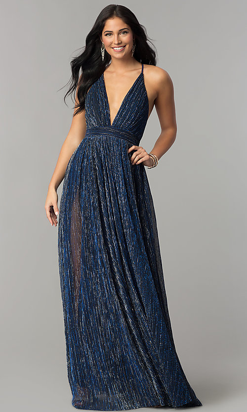Image of metallic-crepe deep-v-neck long formal dress. Style: LUX-LD4206 Detail Image 1