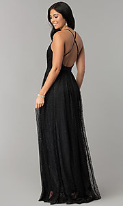 Image of deep-v-neck long lace prom dress with double slits. Style: LUX-LD4171 Back Image