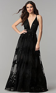 Image of open-back long formal dress with deep v-neck. Style: LUX-LD3452-S Front Image