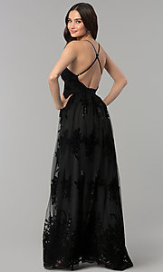 Image of open-back long formal dress with deep v-neck. Style: LUX-LD3452-S Detail Image 2