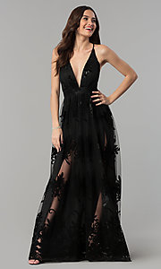Image of open-back long formal dress with deep v-neck. Style: LUX-LD3452-S Detail Image 1