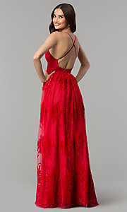 Image of open-back long formal dress with deep v-neck. Style: LUX-LD3452-S Detail Image 3