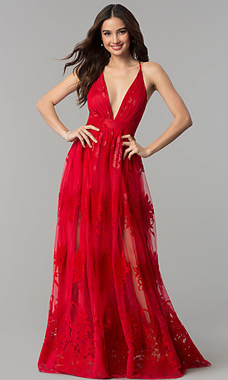 Open-Back Long Formal Dress with Deep V-Neck