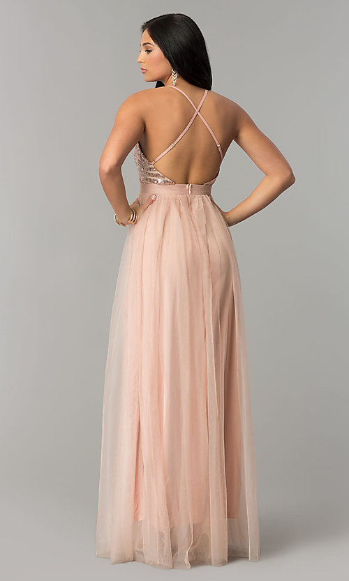 Image of deep-v-neck long tulle prom dress with double slit. Style: LUX-LD4077 Back Image