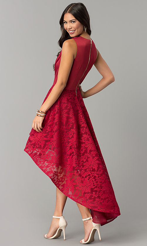Image of short wedding-guest dress with lace high-low skirt. Style: LUX-LD3749-D Back Image