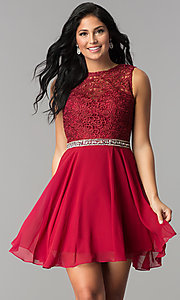 Image of short lace-bodice homecoming dress with beaded waist. Style: FB-GS2410 Front Image