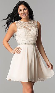 Image of short lace-bodice homecoming dress with beaded waist. Style: FB-GS2410 Detail Image 2