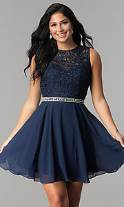 Image of short lace-bodice homecoming dress with beaded waist. Style: FB-GS2410 Detail Image 1