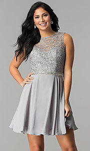 Image of short lace-bodice homecoming dress with beaded waist. Style: FB-GS2410 Detail Image 3