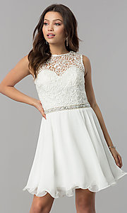 Image of short lace-bodice homecoming dress with beaded waist. Style: FB-GS2410 Detail Image 4