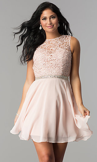 Short Lace-Bodice Homecoming Dress with Beaded Waist